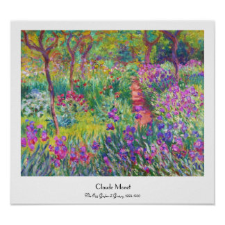 The Iris Garden at Giverny Claude Monet cool, old, Poster