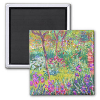 The Iris Garden at Giverny Claude Monet cool, old, Square Magnet