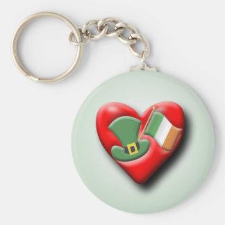 The Irish Heart Basic Round Button Key Ring
