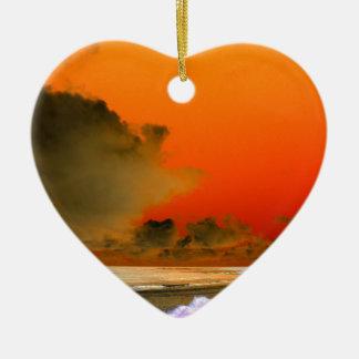 The Irish Sea Inverted photo Ceramic Heart Decoration