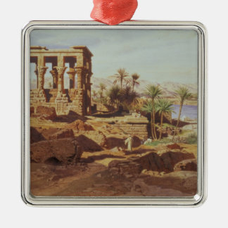 The Island of Philae, 1866 (w/c) Silver-Colored Square Decoration