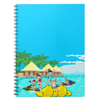 The island of the diversion in a boat banana notebook