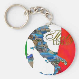 """The Italian """"Boot"""" Basic Round Button Key Ring"""