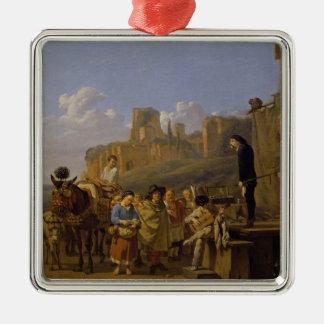 The Italian Charlatans, 1657 Silver-Colored Square Decoration