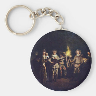 The Italian Comedy (L'Amour Au Théâtre Italien) Basic Round Button Key Ring