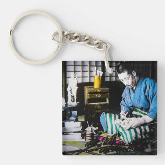 The Ivory Carver Craftsman in Old Japan Vintage Single-Sided Square Acrylic Key Ring
