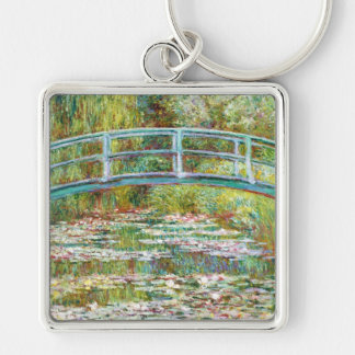 The Japanese Bridge 1899 Claude Monet Silver-Colored Square Key Ring