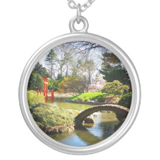 The Japanese Hill and Pond Garden Round Pendant Necklace