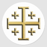The Jerusalem Cross - Gold Beveled Edition Round Sticker