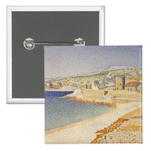 The Jetty at Cassis, Opus 198 - Paul Signac 15 Cm Square Badge