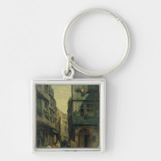 The Jewish Quarter in Frankfurt, 1883 Silver-Colored Square Key Ring