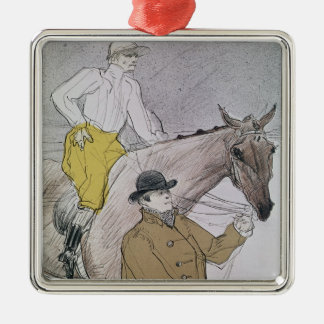 The jockey led to the start Silver-Colored square decoration