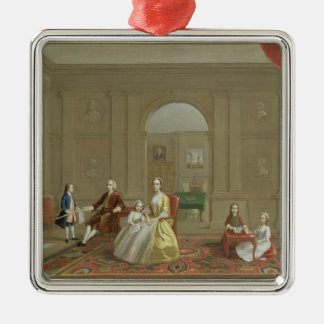 The John Bacon Family, c.1742-43 (oil on canvas) Silver-Colored Square Decoration