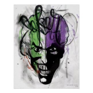 The Joker Neon Airbrush Portrait Poster