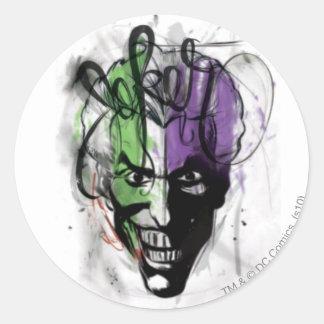 The Joker Neon Airbrush Portrait Round Sticker