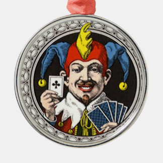 The jolly joker playing card graphic Silver-Colored round decoration
