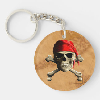 The Jolly Roger Pirate Map Double-Sided Round Acrylic Key Ring