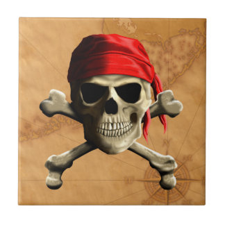 The Jolly Roger Pirate Map Ceramic Tile