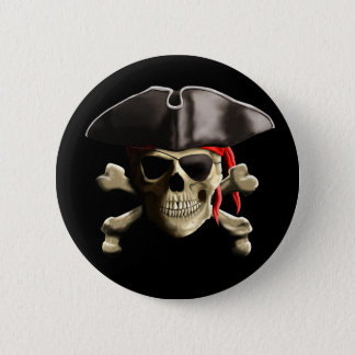 The Jolly Roger Pirate Skull 6 Cm Round Badge
