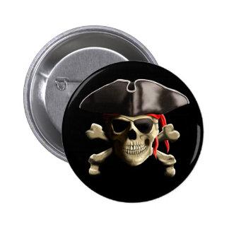 The Jolly Roger Pirate Skull 6 Cm Round Badge