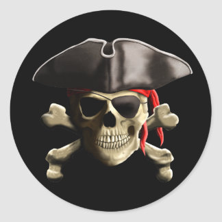The Jolly Roger Pirate Skull Round Sticker
