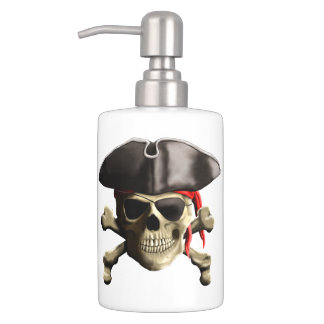 The Jolly Roger Pirate Skull Soap Dispenser And Toothbrush Holder