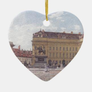 The Josef square in Vienna by Rudolf von Alt Ceramic Heart Decoration