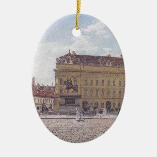 The Josef square in Vienna by Rudolf von Alt Ceramic Oval Decoration