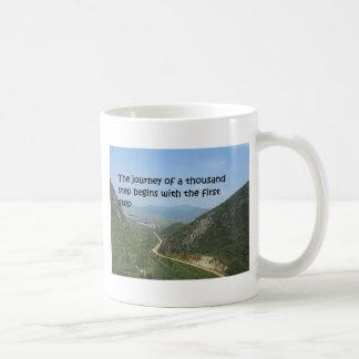 The journey of a thousand step basic white mug