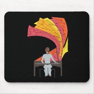 The joy of playing piano illustration (black) mouse pad