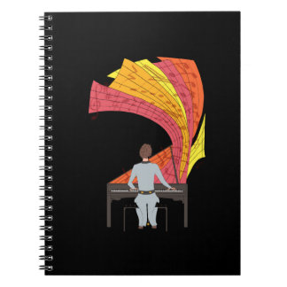 The joy of playing piano illustration (black) notebooks