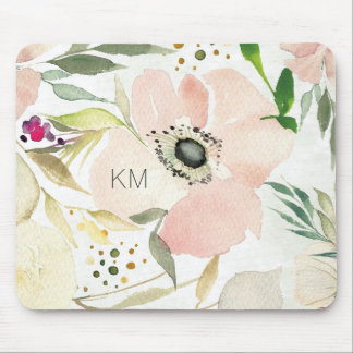 The Joy of White | Watercolor Floral Pattern Mouse Mat