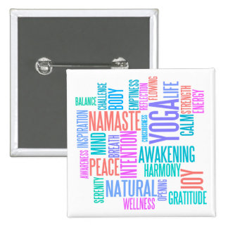The Joy of Yoga Elegant Pastel Colored Word Cloud 15 Cm Square Badge