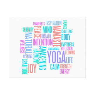 The Joy of Yoga Elegant Pastel Colored Word Cloud Canvas Prints