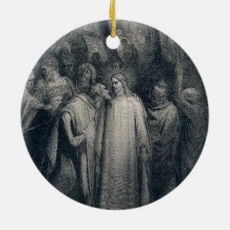 The Judas Kiss Mark 14:45 by Gustave Doré 1866 Round Ceramic Decoration