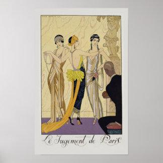 The Judgement of Paris, 1920-30 (pochoir print) Poster