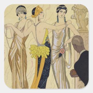 The Judgement of Paris, 1920-30 (pochoir print) Square Stickers