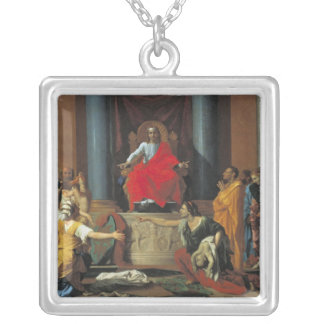 The Judgement of Solomon, 1649 Silver Plated Necklace