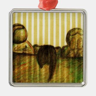 The Judges by Kaye Talvilahti Silver-Colored Square Decoration
