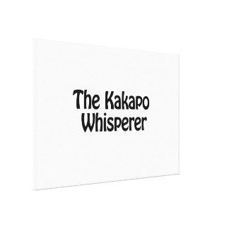 the kakapo whisperer stretched canvas print