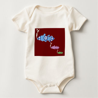 The Kaleidoscopic World of Coelacanth Fish Baby Bodysuit