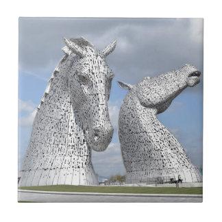 the Kelpies ,  Helix Park , Falkirk , Scotland Small Square Tile