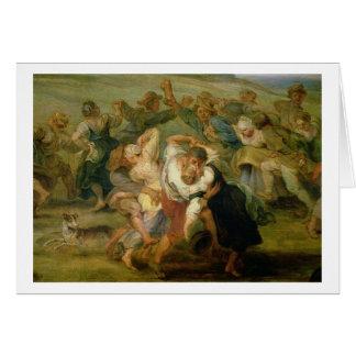 The Kermesse, detail of peasants dancing, c.1635-3 Greeting Card