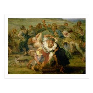 The Kermesse, detail of peasants dancing, c.1635-3 Postcard