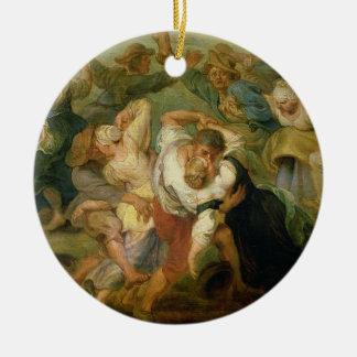 The Kermesse, detail of peasants dancing, c.1635-3 Round Ceramic Decoration