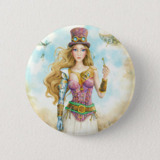 'The Key', Steampunk girl. 6 Cm Round Badge