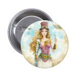 'The Key', Steampunk girl. Pinback Buttons