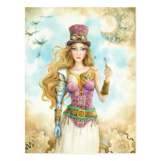 'The Key', Steampunk girl. Postcards