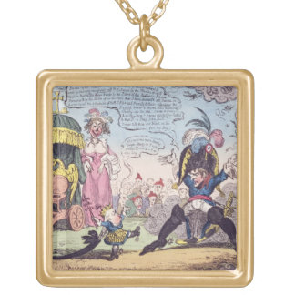 The King of Rome, 1814 - cartoon showing Napoleon Square Pendant Necklace