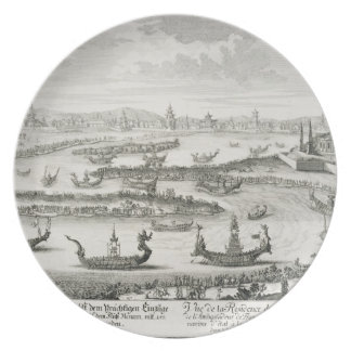 The King of Siam's Residence, from 'Entwurf einer Dinner Plates